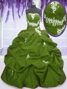 Olive Green Ball Gowns Taffeta Strapless Sleeveless Appliques and Pick Ups Floor Length Lace Up Quince Ball Gowns