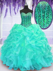 Delicate Turquoise Sweet 16 Dresses Military Ball and Sweet 16 and Quinceanera and For with Beading and Ruffles Sweetheart Sleeveless Lace Up