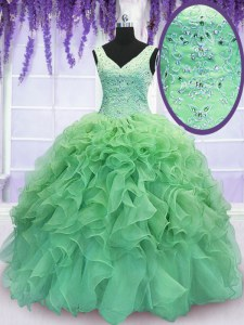 Custom Design Sleeveless Floor Length Beading and Ruffles Lace Up Quinceanera Gowns with