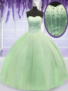 Deluxe Floor Length Lace Up Vestidos de Quinceanera Yellow Green for Military Ball and Sweet 16 and Quinceanera with Beading