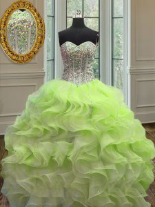 Adorable Sleeveless Beading and Ruffles Lace Up Quince Ball Gowns