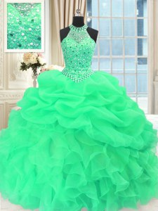 Excellent Scoop Sleeveless Floor Length Beading and Pick Ups Lace Up Quinceanera Gown