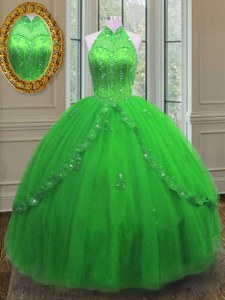 Exceptional Tulle Lace Up High-neck Sleeveless Floor Length Quinceanera Dress Beading and Appliques
