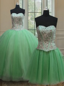 Free and Easy Three Piece Quinceanera Dress Military Ball and Sweet 16 and Quinceanera and For with Beading Sweetheart Sleeveless Lace Up