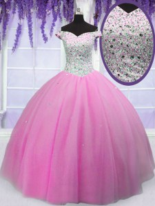 Comfortable Floor Length Hot Pink 15 Quinceanera Dress Off The Shoulder Short Sleeves Lace Up