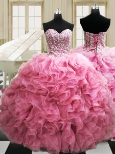 Stunning Rose Pink Lace Up Quinceanera Dress Beading and Ruffles Sleeveless Floor Length