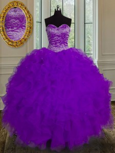 Floor Length Eggplant Purple Quinceanera Dresses Sweetheart Sleeveless Lace Up