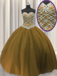 Sweetheart Sleeveless Lace Up Sweet 16 Dresses Brown Tulle