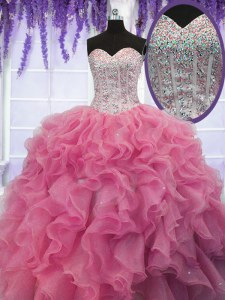 Sleeveless Lace Up Floor Length Ruffles and Sequins Sweet 16 Dresses