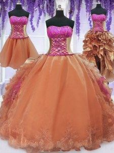 Pretty Four Piece Orange Ball Gowns Strapless Sleeveless Organza Floor Length Lace Up Embroidery and Ruffles Vestidos de Quinceanera