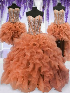 Admirable Four Piece Sleeveless Organza Floor Length Lace Up 15 Quinceanera Dress in Orange with Beading and Ruffles
