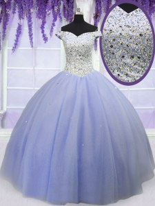 Lavender Lace Up Off The Shoulder Beading 15th Birthday Dress Tulle Short Sleeves