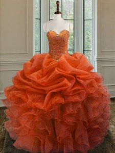 Beautiful Orange Red Sweetheart Lace Up Beading and Ruffles Ball Gown Prom Dress Sleeveless