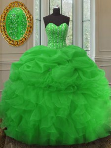 Sleeveless Floor Length Beading and Ruffles and Pick Ups Lace Up Sweet 16 Dress with Green
