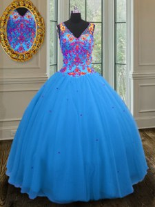 Luxurious Blue Ball Gowns Straps Sleeveless Tulle Floor Length Zipper Beading and Sequins Quinceanera Gown