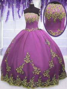 Gorgeous Fuchsia Ball Gowns Appliques Sweet 16 Dresses Zipper Tulle Sleeveless Floor Length