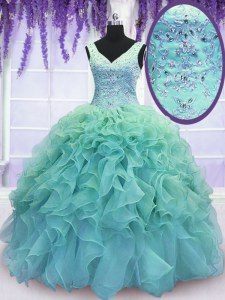 Delicate Ball Gowns Quinceanera Gown Blue V-neck Organza Sleeveless Floor Length Lace Up
