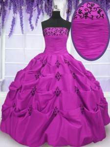 Stylish Fuchsia Sleeveless Embroidery and Pick Ups Floor Length Quince Ball Gowns