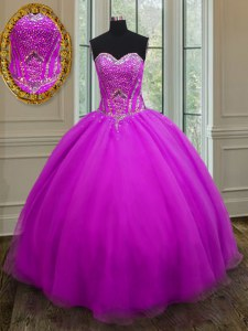 Sleeveless Organza Floor Length Lace Up Quinceanera Dress in Purple with Beading