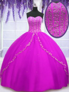Sleeveless Tulle Floor Length Lace Up Sweet 16 Dress in Fuchsia with Beading