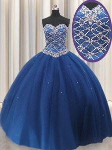 Royal Blue Tulle Lace Up Quinceanera Dresses Sleeveless Floor Length Beading and Sequins
