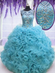 Square Ball Gowns Sleeveless Baby Blue 15 Quinceanera Dress Lace Up