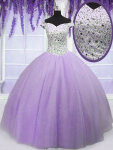 Lavender Off The Shoulder Lace Up Beading Quinceanera Dresses Short Sleeves