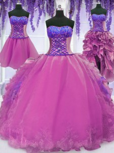 Four Piece Organza Sleeveless Floor Length 15th Birthday Dress and Appliques and Embroidery