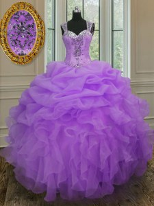 Traditional Straps Lavender Sleeveless Beading and Ruffles Floor Length 15th Birthday Dress