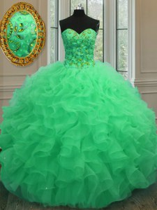 Hot Selling Green Organza Lace Up Quinceanera Gown Sleeveless Floor Length Beading and Ruffles