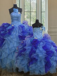 Multi-color Strapless Lace Up Beading and Ruffles Quinceanera Gowns Sleeveless
