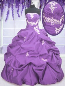 Spectacular Pick Ups Ball Gowns Quince Ball Gowns Lavender Strapless Taffeta Sleeveless Floor Length Lace Up