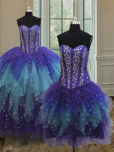 Three Piece Multi-color Lace Up Sweetheart Beading and Ruffles and Sequins Quince Ball Gowns Tulle Sleeveless