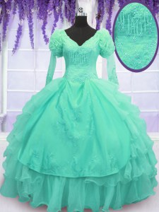 Long Sleeves Floor Length Beading and Embroidery and Hand Made Flower Lace Up Vestidos de Quinceanera with Turquoise