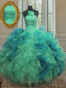 Chic Multi-color Sleeveless Floor Length Beading and Ruffles Lace Up 15 Quinceanera Dress
