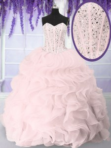 Superior Ball Gowns Quinceanera Dress Pink Sweetheart Organza Sleeveless Floor Length Lace Up