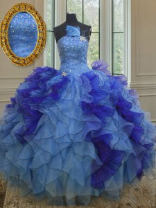 Ball Gowns Quinceanera Gown Multi-color Strapless Organza Sleeveless Floor Length Lace Up
