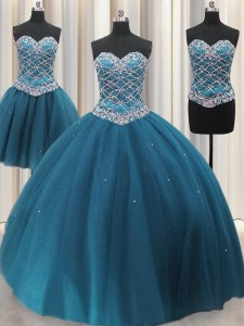 Chic Three Piece Floor Length Teal Quinceanera Dresses Tulle Sleeveless Beading and Ruffles