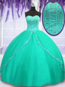 Modest Sweetheart Sleeveless Quinceanera Gown Floor Length Beading and Sequins Turquoise Tulle
