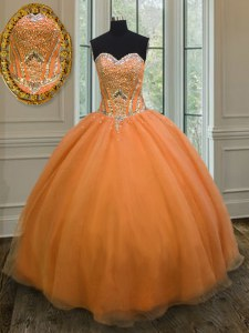 Floor Length Orange Ball Gown Prom Dress Organza Sleeveless Beading