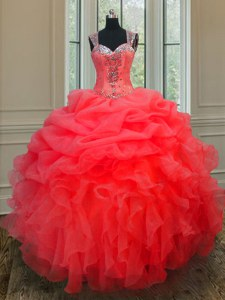 Modern Organza Straps Sleeveless Zipper Beading and Ruffles Sweet 16 Quinceanera Dress in Coral Red
