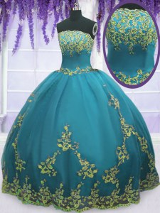Adorable Floor Length Zipper Sweet 16 Quinceanera Dress Teal for Military Ball and Sweet 16 and Quinceanera with Appliques