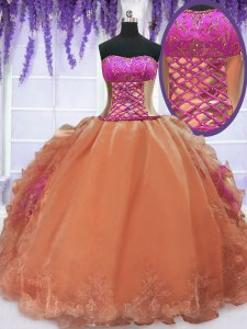 Unique Sleeveless Floor Length Embroidery and Ruffles Lace Up Quinceanera Dresses with Orange