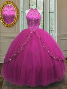Top Selling Ball Gowns 15 Quinceanera Dress Fuchsia High-neck Tulle Sleeveless Floor Length Lace Up