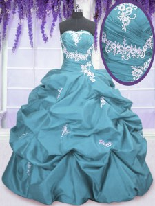 Fashionable Teal Sleeveless Floor Length Appliques and Pick Ups Lace Up Vestidos de Quinceanera