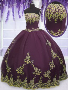 Ball Gowns Sweet 16 Quinceanera Dress Purple Strapless Tulle Sleeveless Floor Length Zipper