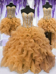 Luxurious Four Piece Gold Sleeveless Floor Length Beading and Ruffles Lace Up Ball Gown Prom Dress