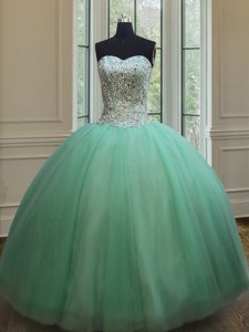 New Style Apple Green Sweetheart Neckline Beading Sweet 16 Quinceanera Dress Sleeveless Lace Up