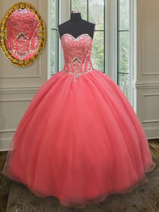 Free and Easy Sleeveless Beading Lace Up 15th Birthday Dress