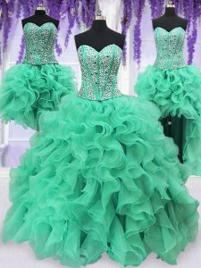 Romantic Four Piece Sequins Ball Gowns Vestidos de Quinceanera Turquoise Sweetheart Organza Sleeveless Floor Length Lace Up